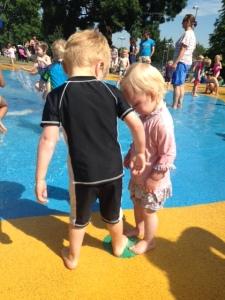 The Terrorists at Wimbedon Park Splash Park stood on a fountain