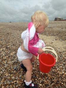 Bollie on Littlehampton Beach in the wind!