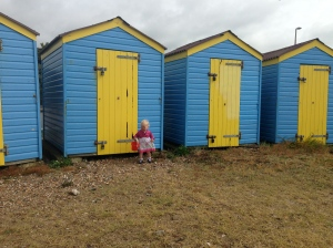 Bollie at the Beach Huts at Littlehampton